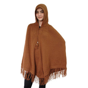Hooded Alpaca Wool Womens Knit Long Poncho One Size Copper