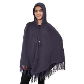 Hooded Alpaca Wool Womens Knit Long Poncho One Size Purple