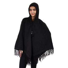 Hooded Alpaca Wool Womens Knit Long Poncho One Size Black