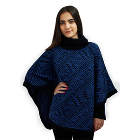 Alpaca Wool Turtleneck Knit Poncho One Size Navy & Blue
