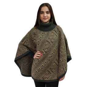 Alpaca Wool Turtleneck Knit Poncho One Size Olive & Sand