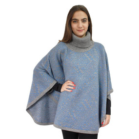 Alpaca Wool Turtleneck Knit Poncho One Size Soft Gray & Soft Blue