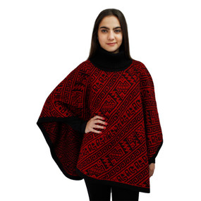Alpaca Wool Turtleneck Knit Poncho One Size Black & Red