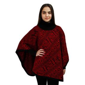 Alpaca Wool Turtleneck Knit Poncho One Size Black & Red