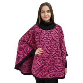 Alpaca Wool Turtleneck Knit Poncho One Size Black & Strawberry Rose