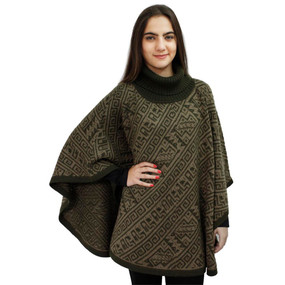 Alpaca Wool Turtleneck Knit Poncho One Size Leaf Green & Sand