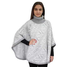 Alpaca Wool Turtleneck Knit Poncho One Size Silver Gray & Ivory