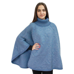 Alpaca Wool Turtleneck Knit Poncho One Size Shades of Blue