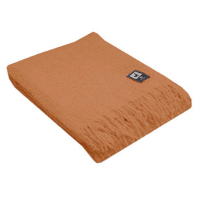 100% Baby Alpaca Boucle Wool Blanket Throw by Inca Alpaca Orange