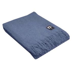 100% Baby Alpaca Boucle Wool Blanket Throw by Inca Alpaca Soft Blue