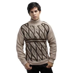 Men's Half Zip Alpaca Wool Sweater Size M Beige