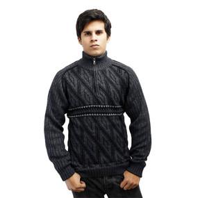 Men's Half Zip Alpaca Wool Sweater Size XL Gray
