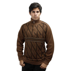 Men's Half Zip Alpaca Wool Sweater Size L Camel