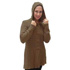 Womens Superfine Alpaca Wool Hooded Coat Size M Camel