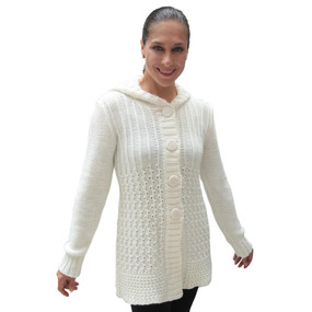 Womens Superfine Alpaca Wool Hooded Coat Size L Ivory