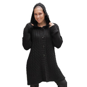 Womens Superfine Alpaca Wool Hooded Coat Size L Black