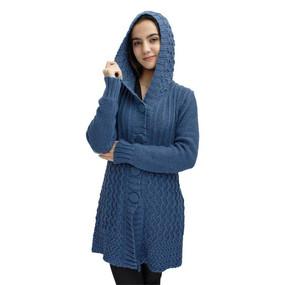 Womens Superfine Alpaca Wool Hooded Coat Size L Steel Blue