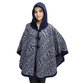 Hooded Alpaca Wool Womens Knit Cape One Size Navy & Soft Gray