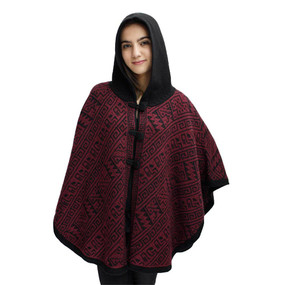 Hooded Alpaca Wool Womens Knit Cape One Size Black & Burgundy