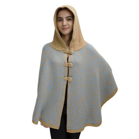Hooded Alpaca Wool Womens Knit Cape One Size Soft Camel & Soft Blue