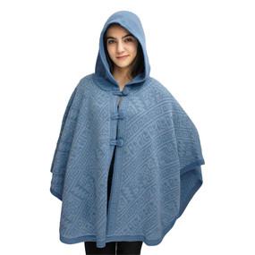 Hooded Alpaca Wool Womens Knit Cape One Size Blues