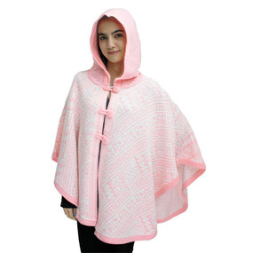 Hooded Alpaca Wool Womens Knit Cape One Size Pink & Ivory