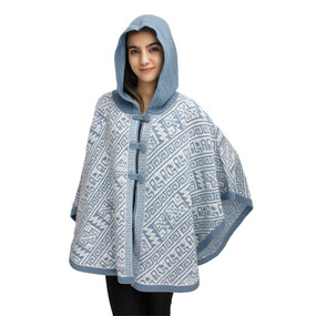 Hooded Alpaca Wool Womens Knit Cape One Size Soft Blue & Ivory