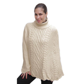 Womens Superfine Alpaca Wool Hand Knitted Poncho One Sz Beige