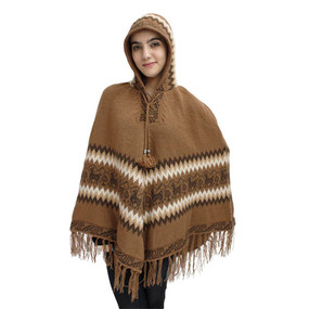 Hooded Little Llamas Alpaca Wool Womens Knit Long Poncho One Size Camel