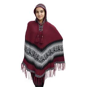 Hooded Little Llamas Alpaca Wool Womens Knit Long Poncho One Size Wine Burgundy