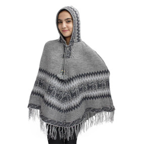 Hooded Little Llamas Alpaca Wool Womens Knit Long Poncho One Size Soft Gray
