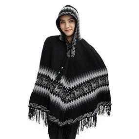 Hooded Little Llamas Alpaca Wool Womens Knit Long Poncho One Size Black