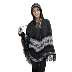 Hooded Little Llamas Alpaca Wool Womens Knit Long Poncho One Size Beige