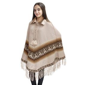 Little Llamas Alpaca Wool Knit Long Poncho With Collar One Size Beige
