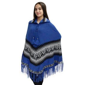 Little Llamas Alpaca Wool Knit Long Poncho With Collar One Size Blue