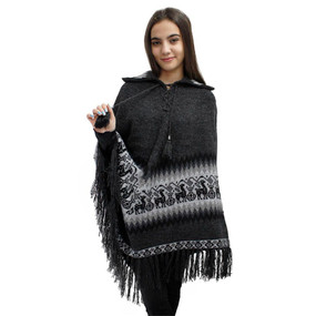 Little Llamas Alpaca Wool Knit Long Poncho With Collar One Size Charcoal Gray