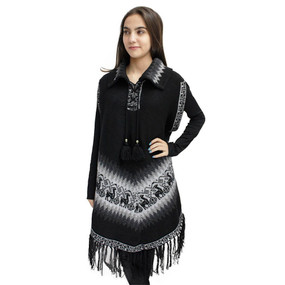 Little Llamas Alpaca Wool Knit Long Poncho With Collar & Sleeves One Size Black