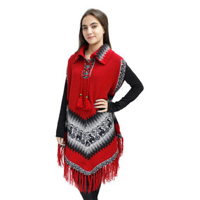 Little Llamas Alpaca Wool Knit Long Poncho With Collar & Sleeves One Size Red