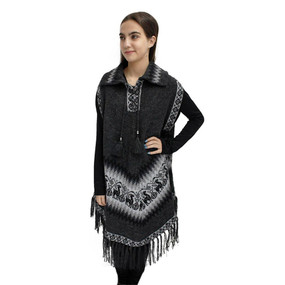 Little Llamas Alpaca Wool Knit Long Poncho With Collar & Sleeves One Size Charcoal Gray