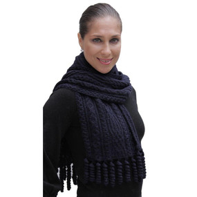 Chunky Superfine Handknitted Alpaca Scarf Navy Blue
