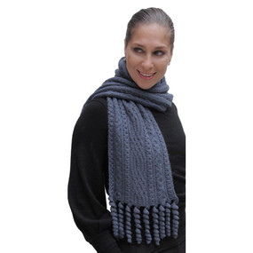 Chunky Superfine Handknitted Alpaca Scarf Steel Blue