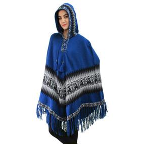 Hooded Little Llamas Alpaca Wool Womens Knit Long Poncho One Size Blue