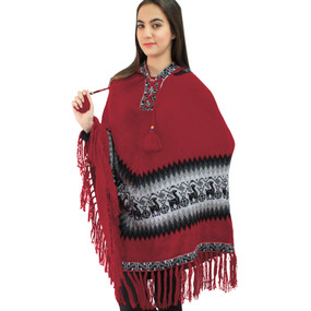Hooded Little Llamas Alpaca Wool Womens Knit Long Poncho One Size Red