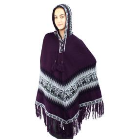 Hooded Little Llamas Alpaca Wool Womens Knit Long Poncho One Size Plum