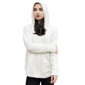 Womens Hooded Alpaca Wool Shaped Jacket SZ L Ivory