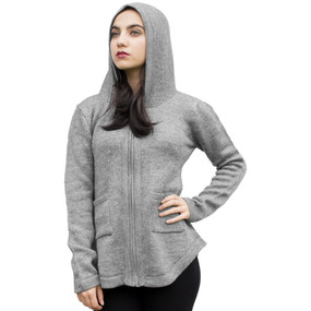 Womens Hooded Alpaca Wool Shaped Jacket SZ XL Soft Gray