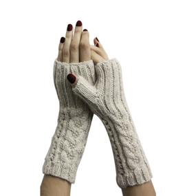 Superfine Alpaca Wool Handknitted Fingerless Gloves One Sz Beige