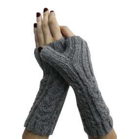 Superfine Alpaca Wool Handknitted Fingerless Gloves One Sz Gray