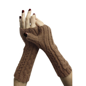 Superfine Alpaca Wool Handknitted Fingerless Gloves One Sz Camel