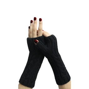 Superfine Alpaca Wool Handknitted Fingerless Gloves One Sz Black